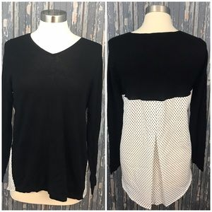 Chicos Blouse Sweater Black Polka White Dot